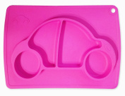 SALE! Pursentials Placemat Baby and Kid-friendly Silicone Pink Car Design Makes Mealtime Fun Fits Most Highchair Trays, Suctions to Surface Nonslip Dishwasher Freezer-safe Conforms to FDA BPA-free