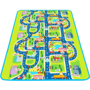 """Play Mat for Kids, Large Protective Floor Mat, Car Track Road Mat With Town Map, Pretend Play & Learning Mat For Baby and Toddler 63""""x 79"""" - iPlay, iLearn"""