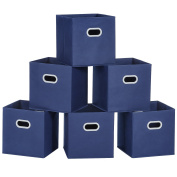 Cloth Storage Bins, MaidMAX Set of 6 Nonwoven Foldable Collapsible Organisers Basket Cubes with Dual Plastic Handles for Gift, Blue