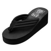 Ecurson Women Black Flip flops Slippers Beach Sandals Summer Home Beach Shoes (US:6.5
