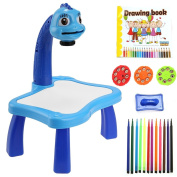Drawing Painting Toy Fun Learning Desk Set, Multifunctional Educational Development Drawing Toy Set for Children/Kids/Boy/Girl (Blue, Pink)