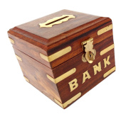 Rastogi Handicrafts Box Wooden Piggy Bank For Boys Girls And Adults Safe Money For your future