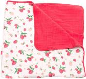 Little Unicorn Cotton Muslin Blanket Quilt - Strawberry, Red