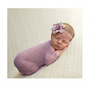 Luxury Stretch Newborn Boy Girl Baby Photography Props Wrap Yarn Cloth Blanket Purple