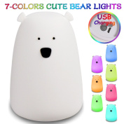 Baby Night Light Big Bear LED Night Lamp USB Rechargeable Silicone Night Light with Warm Single White and 7-Colour Breathing Modes, Sensitive Tap Control for Babies Kids Adults Bedroom