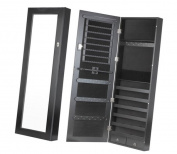 Homegear Modern Door/Wall Mounted Mirrored Jewellery Cabinet Organiser Storage Black