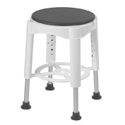 Shower & Bath Stool With Padded Rotating Seat, White with Grey Seat