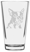 Boston Terrier Dog Themed Etched All Purpose 470ml Libbey Pint Glass