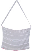 Cacala Peshtemal Turkish Bath Towel and Bag Combo, Grey