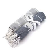Turkish Beach / Bath Hammam Peshtermal Towel. Traditional Design 100% Cotton - Grey & Dark Blue - Set of 2