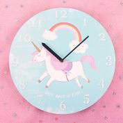 Wall Clock Children's Round Unicorn Clock Battery Operated Wall Clock
