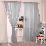 2pcs Sheer Voile Window Curtain Rod Pocket Panels Grey 55*180cm for Living Room Dining Room