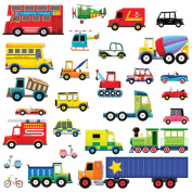 Decowall DW-1205 27 Transports Peel and Stick Nursery Wall Stickers Decals