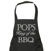 Pops King Of The BBQ Black Apron Novelty Gift Fathers Day Birthday Christmas Present