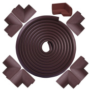 Nachvorn [4.9m Edge + 8 Corners] Safe Edge and Corner Cushion- Extra Long ¨CSharp Edge Furniture Safety Bumper Protectors, Childproof Cushion Protection#170569-Coffee