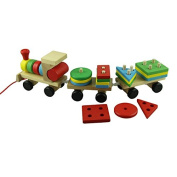 Dreaman Educational Wooden Toys Children Wooden Stacking Train Wooden Blocks Baby Early Learning Toys 1 set