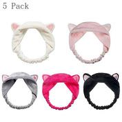 Generic 5pc Cute Cat Ear Hair Band For Women Wash Face Makeup Running Sport Random Colour