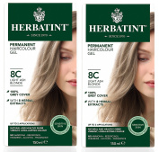 Herbatint 8C Light Ash Blonde Permanent Haircolor (Pack of 2) Alcohol and Ammonia Free, 130ml Each