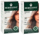 Herbatint 7C Ash Blonde Permanent Haircolor (Pack of 2) Alcohol and Ammonia Free, 140ml Each