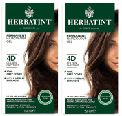 Herbatint 4D Golden Chestnut Permanent Haircolor (Pack of 2) Alcohol and Ammonia Free, 130ml Each