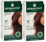 Herbatint 4C Ash Chestnut Permanent Haircolor (Pack of 2) Alcohol and Ammonia Free, 140ml Each