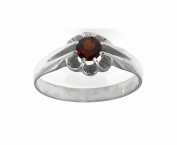 Sterling Silver Men's Real Garnet Solitaire Signet Ring ( Size P - Z +4 ) Made to order in the Birmingham Jewellery Quarter