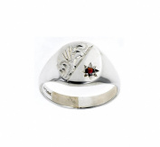 Sterling Silver Men's Real Garnet Signet Ring ( Size P - Z +4 ) Made to order in the Birmingham Jewellery Quarter