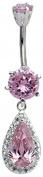 Dangly Teardrop Belly Bar with Austrian crystals and 6MM top gem ball - Belly Rings - Body Bar - Body Jewellery - Navel Jewellery - Silver Belly Bar - we use the best quality CZ crystals
