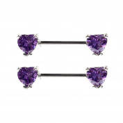 BODYA 2pcs 14g 14 Gauge 6mm Cubic Zirconia love heart Stainles Steel straight Bar Nipple Ring Barbell Helix Earring