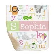 GiftsForYouNow Alphabet Personalised Sherpa Blanket for Baby Girl