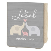 GiftsForYouNow So Loved Personalised Sherpa Blanket for Baby Girl