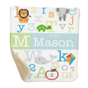 GiftsForYouNow Alphabet Personalised Sherpa Blanket for Baby Boy