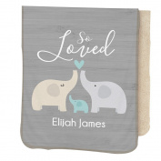 GiftsForYouNow So Loved Personalised Sherpa Blanket for Baby Boy