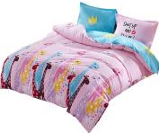 Ningkotex Cartoon Giraffe Print Pink Duvet Cover Pillow Case King Queen Twin Kid's Girl Bedding Set