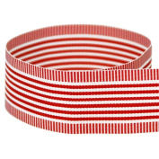 USA Made 2.5cm - 1.3cm Red Vertigo Striped Grosgrain Ribbon - 20 Yards