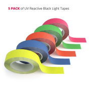 5 Pack Fluorescent Blacklight Tape - The Best Glow in the Dark Party Supplies for UV Reactive Parties, Colour Coding in Neon and Hazard Marking for Clubs and Studios [5 Rolls - 1.3cm x 7.6m Each]