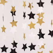 Paper Five-pointed Star Garland Dots Hanging Decor, Five-pointed Star Event & Party Supplies,5.1cm high,3m