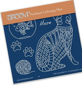 Groovi Parchment Embossing Plate - Meow Baby Plate Template - Laser Etched Acrylic for Parchment Craft