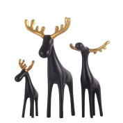 Elegant Resin Deer Family Of Three Carving Fine Gold Antler Crafts Ornaments Office Home Decorations Figurine Sculpture Art