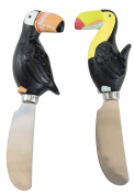 Toucan Spreaders, Set of 2, Hand Painted Ceramic, By Boston Warehouse