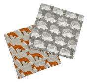 "Milkbarn Organic Cotton Burp Cloths ""Grey Hedgehog/Orange Fox"""