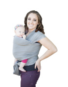 Soft and Luxurious Baby Carrier Sling Wrap-Grey- Best Baby Gift-French Terry Comfortable and Breathable- Breastfeeding Made from Cotton, Modal -Newborns to 16kg