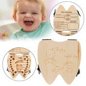 AMA(TM) Kids Baby Boy Girl Milk Teeth Wood Storage Box Organiser Holder Keepsake
