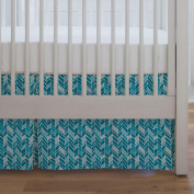 Carousel Designs Turquoise and Aqua Herringbone Crib Skirt Single-Pleat 43cm Length - Organic 100% Cotton Crib Skirt - Made in the USA