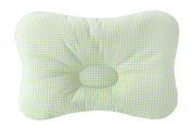 Baby Pillow For Newborn Breathable 3-Dimensional Cool Air Mesh Organic Cotton, Protection for Flat Head Syndrome Cheque Green