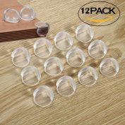 FSLIFE 12 PCS Ball Shape Clear Furniture Corner Protectors with Matt Finish - Children Proof Corner Safety Bumpers - Baby Proofing Corner Guards - Table Corner Cover - Desk Edge Corner Cushion caring