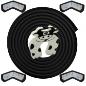 Edge & Corner Guards 5.3m [5m Edge + 4 Pre-Taped Corners] Density Bumper Cushion Protector - Black Onyx - Childproofing Protection - Door Slammer Guard Included