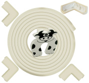 Edge & Corner Guards 5.3m [5m Edge + 4 Pre-Taped Corners] Density Bumper Cushion Protector - Cream White - Childproofing Protection - Door Slammer Guard Included