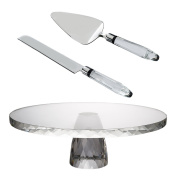 Donoucls Crystal handled Stainless Steel Knife and Cake Server Set Cake Stand - 3 Pieces Set