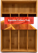 Bamboo Kitchen Tray Organiser - Bamboo Drawer Organiser - Silverware tray - Bamboo Hardware Organiser - 5-Compartment - by Utopia Kitchen